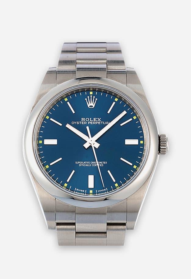 Rolex Oyster Perpetual 39 mm Blau 114300